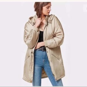 Urban Outfitters Gold Mirabelle Satin Parka